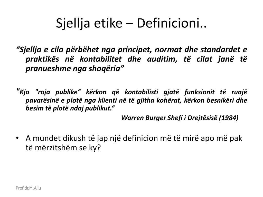Sjellja etike – Definicioni..