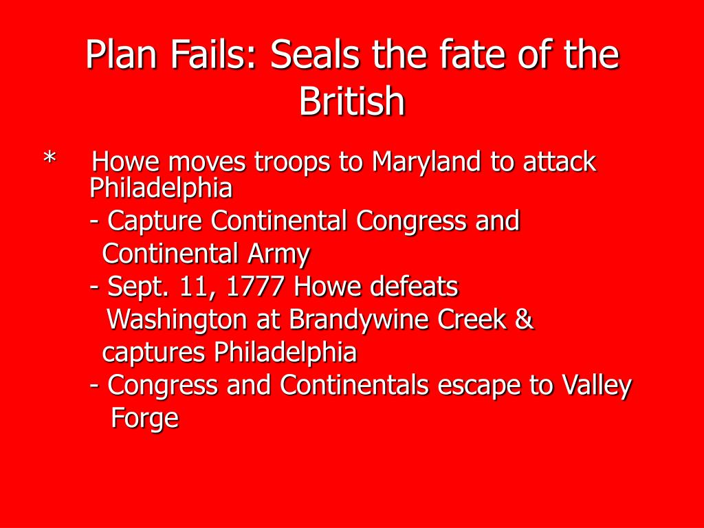 Plan Fails: Seals the fate of the British