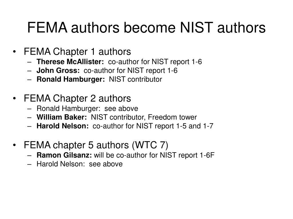 FEMA authors become NIST authors