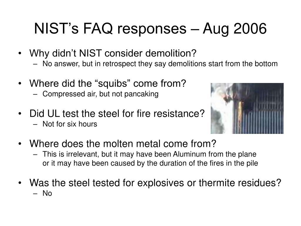NIST's FAQ responses – Aug 2006