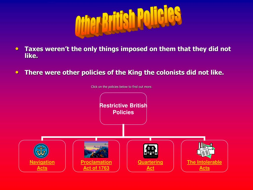 Other British Policies