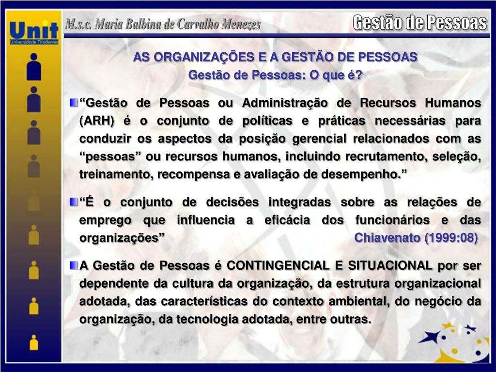 AS ORGANIZAÇÕES E A GESTÃO DE PESSOAS