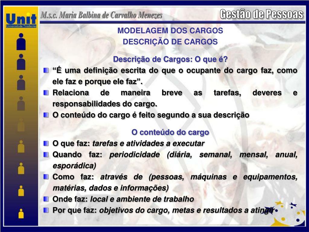 MODELAGEM DOS CARGOS