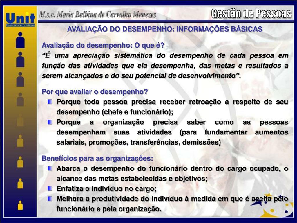 AVALIAÇÃO DO DESEMPENHO: INFORMAÇÕES BÁSICAS