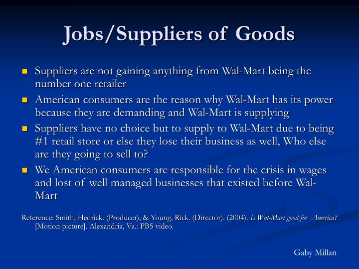 Jobs/Suppliers of Goods