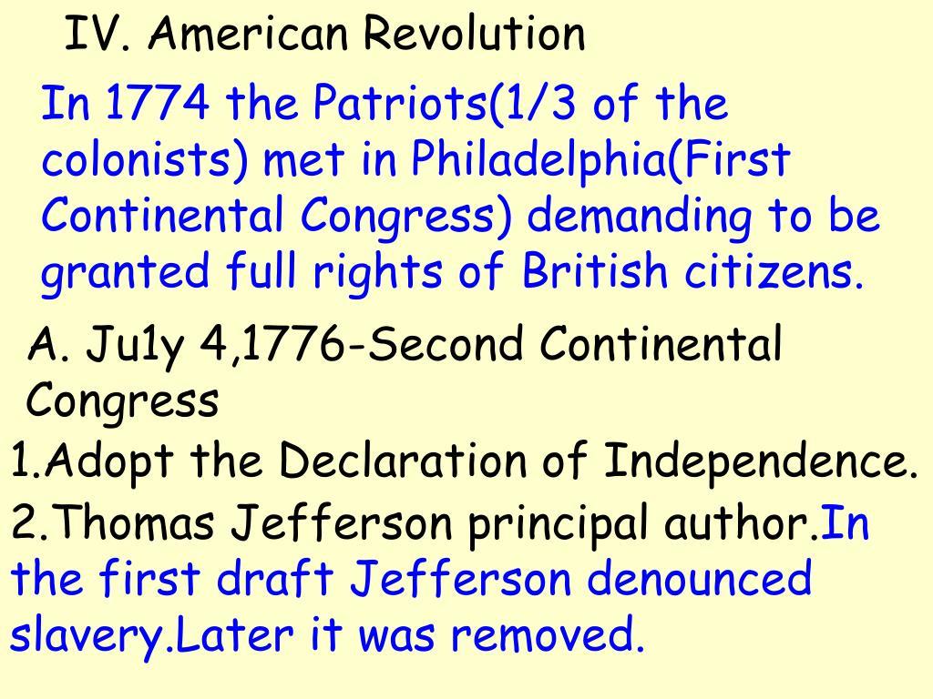 IV. American Revolution
