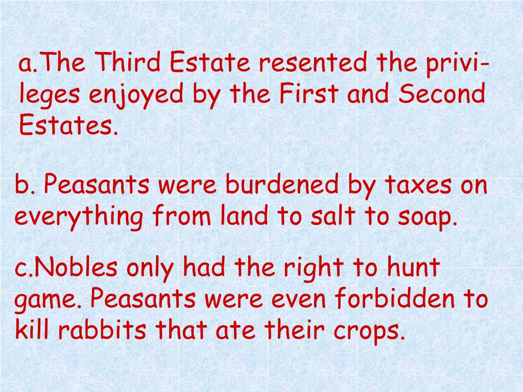 a.The Third Estate resented the privi- leges enjoyed by the First and Second Estates.
