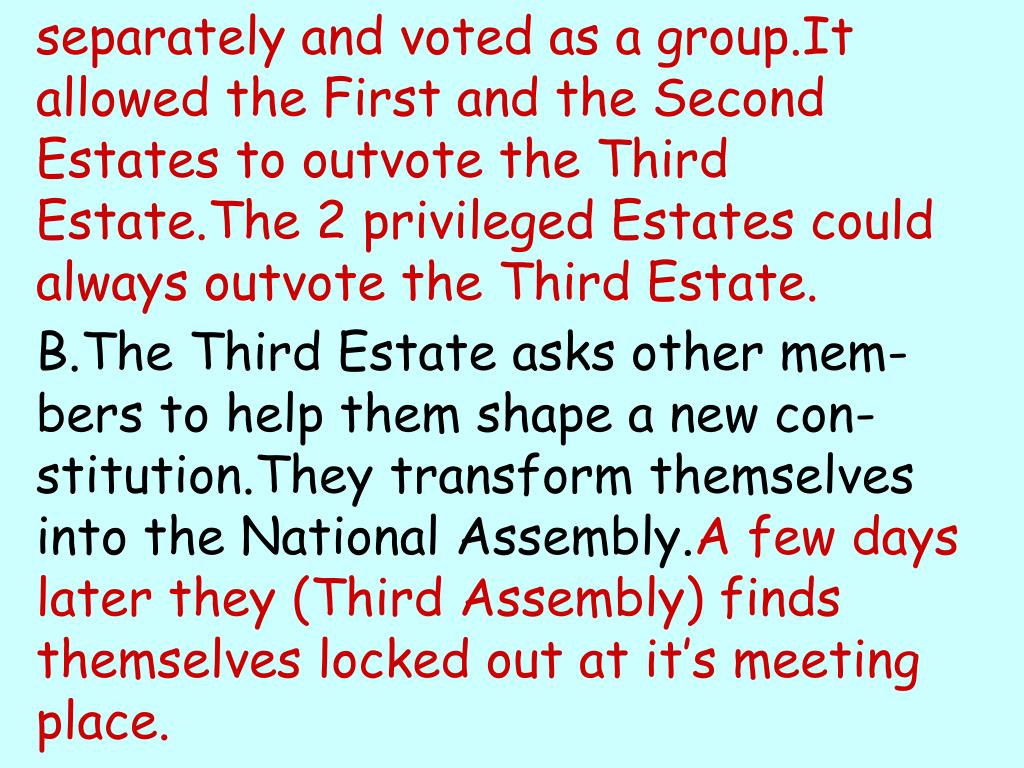 separately and voted as a group.It allowed the First and the Second Estates to outvote the Third Estate.The 2 privileged Estates could always outvote the Third Estate.