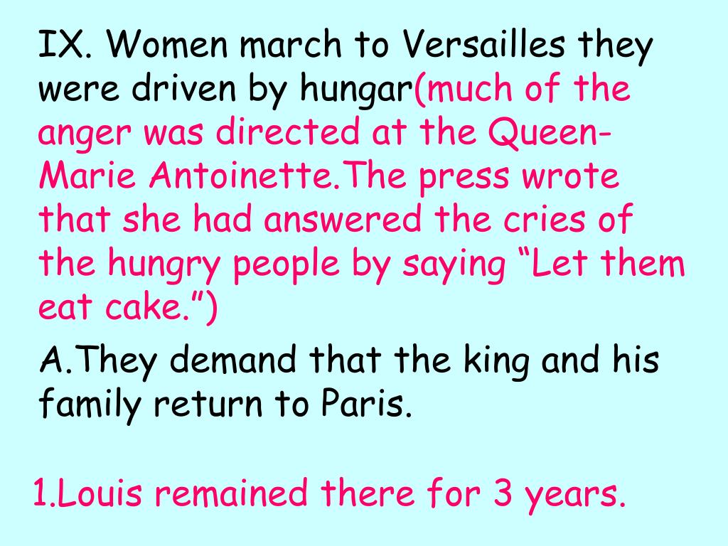 IX. Women march to Versailles they were driven by hungar