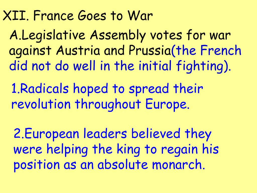 XII. France Goes to War