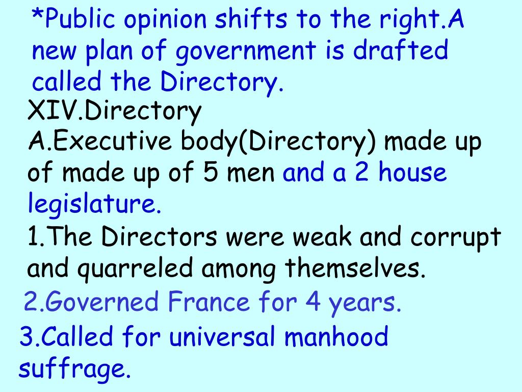 *Public opinion shifts to the right.A new plan of government is drafted called the Directory.