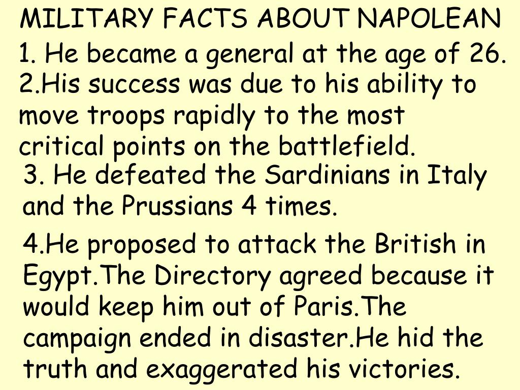 MILITARY FACTS ABOUT NAPOLEAN