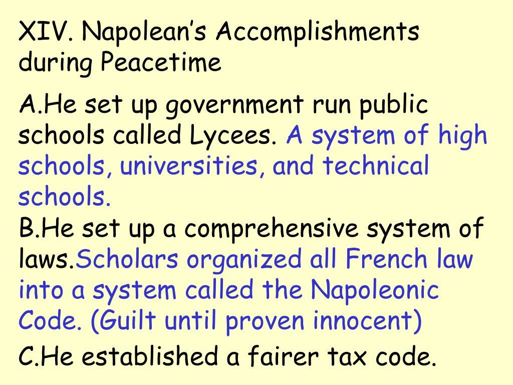 XIV. Napolean's Accomplishments during Peacetime