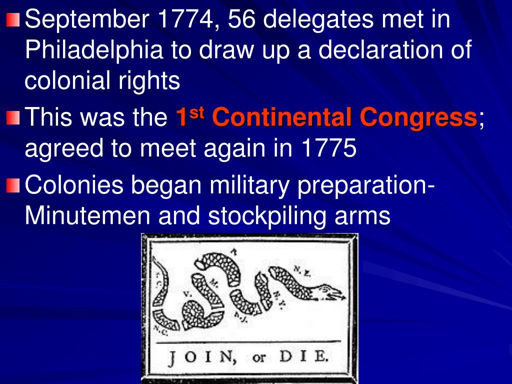 September 1774, 56 delegates met in Philadelphia to draw up a declaration of colonial rights