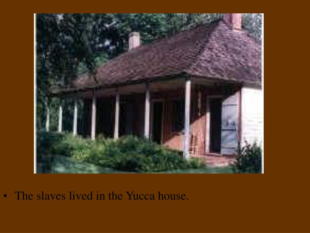 The slaves lived in the Yucca house.
