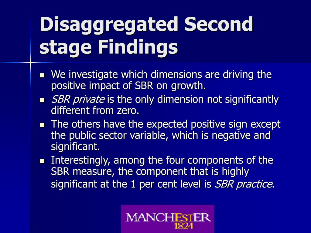 Disaggregated Second stage Findings