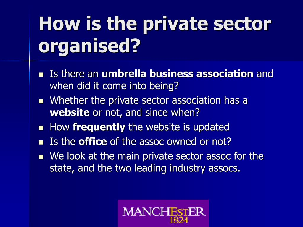 How is the private sector organised?