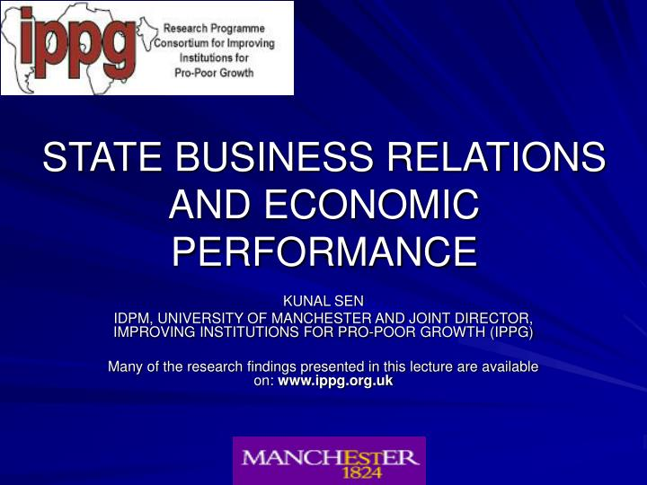 State business relations and economic performance l.jpg