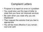 complaint letters