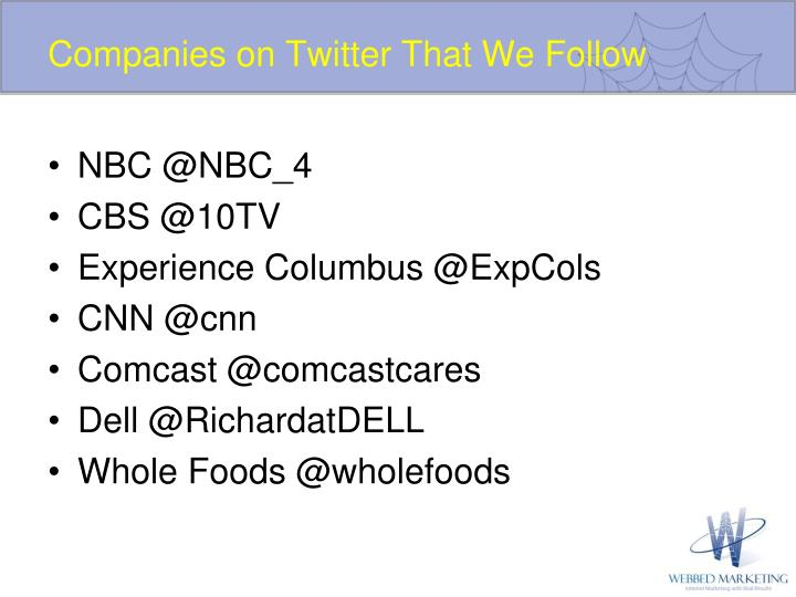 Companies on Twitter That We Follow