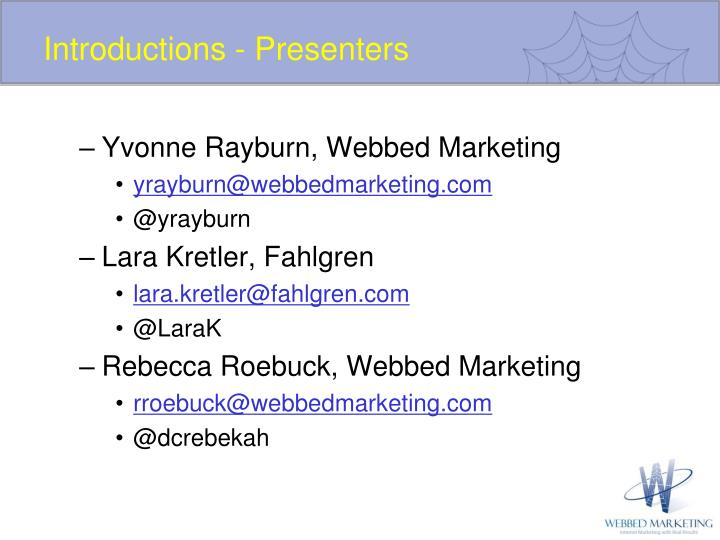 Introductions - Presenters