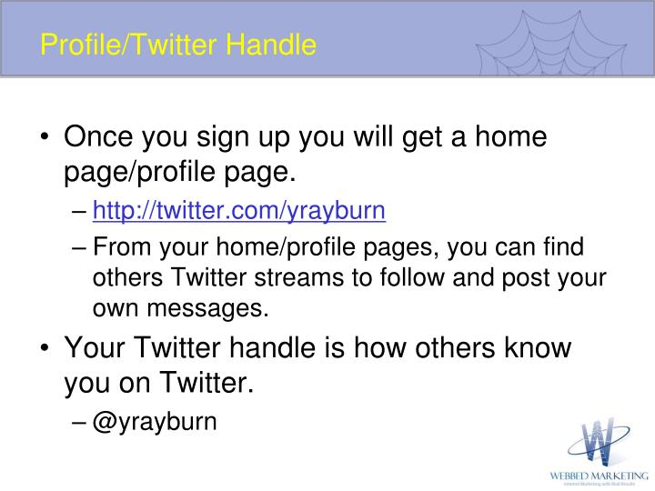 Profile/Twitter Handle