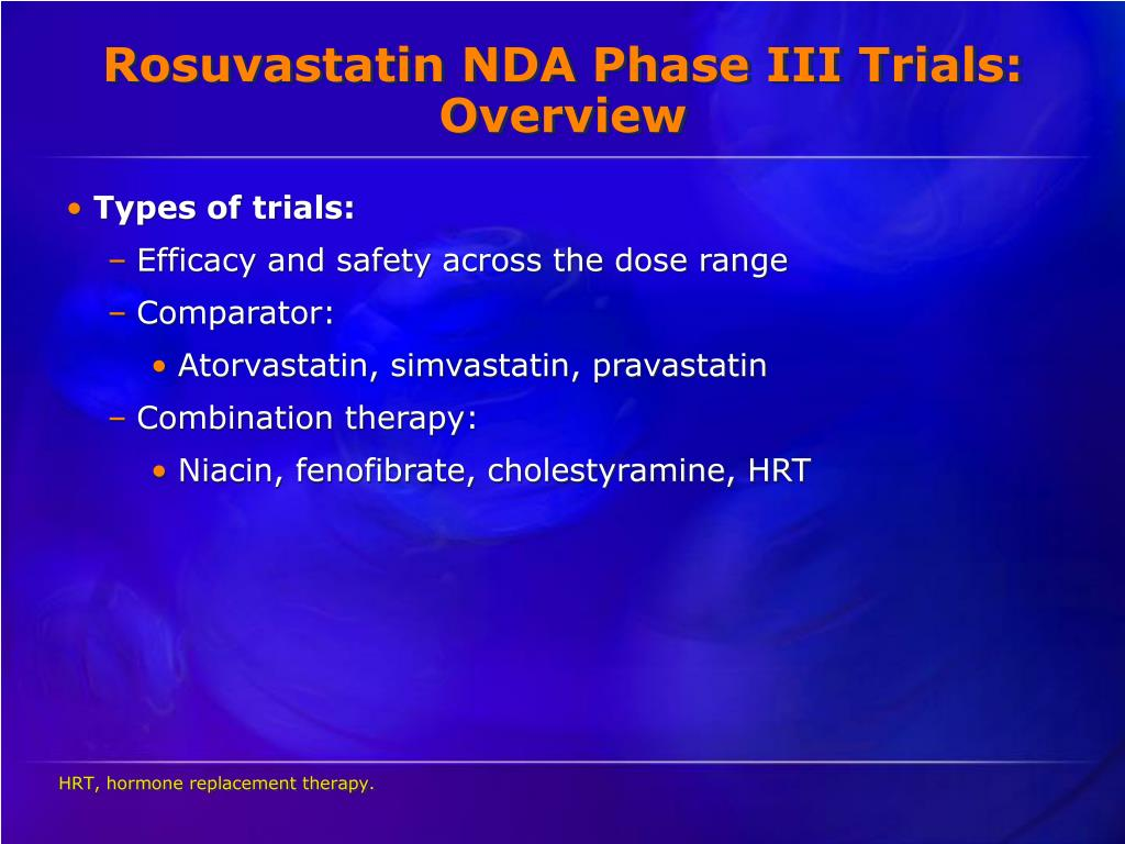 Rosuvastatin NDA Phase III Trials: