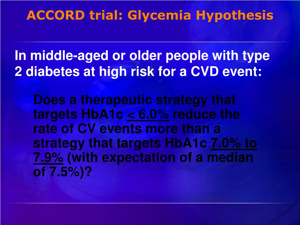 ACCORD trial: Glycemia Hypothesis