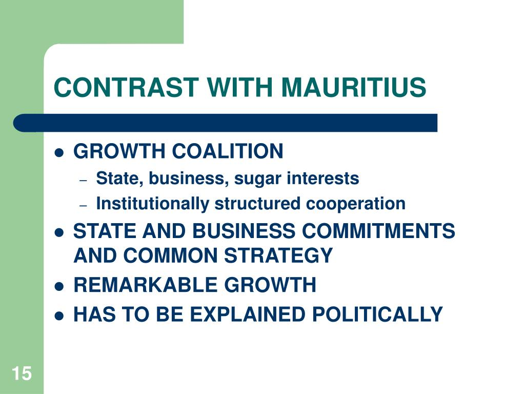 CONTRAST WITH MAURITIUS