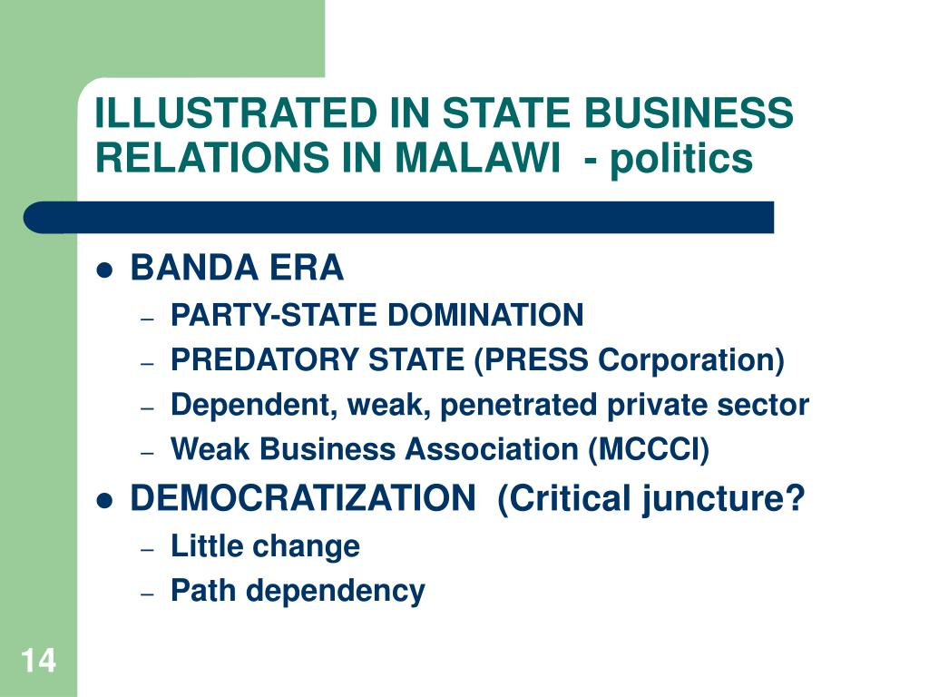 ILLUSTRATED IN STATE BUSINESS RELATIONS IN MALAWI  - politics