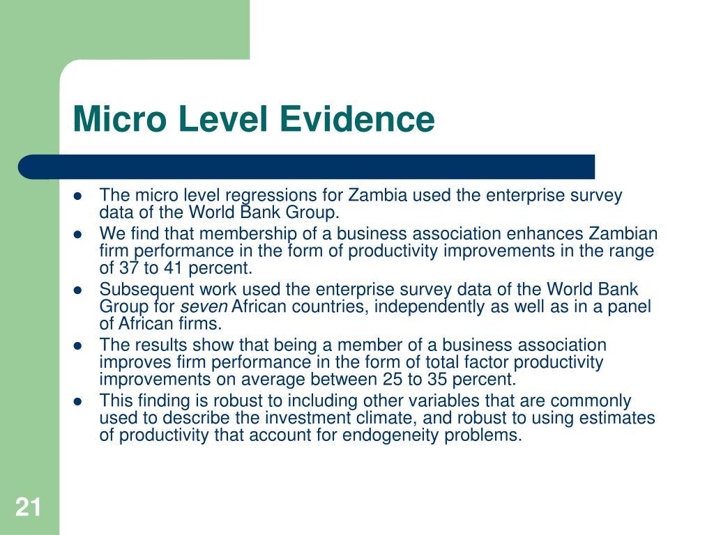 Micro Level Evidence