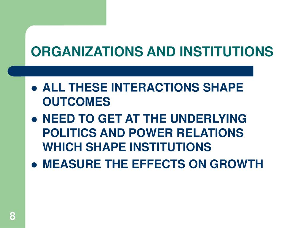 ORGANIZATIONS AND INSTITUTIONS