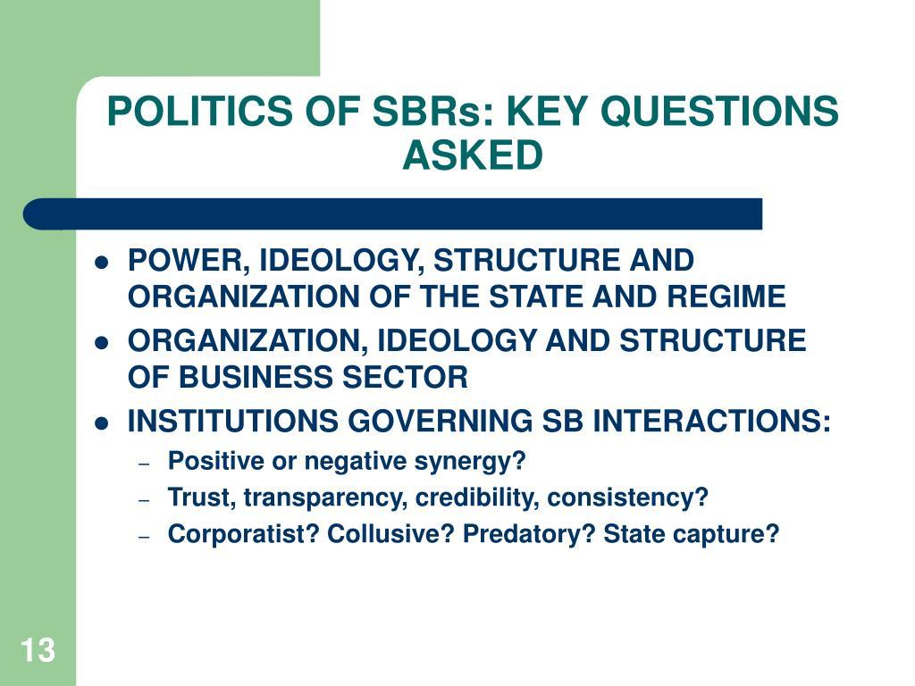 POLITICS OF SBRs: KEY QUESTIONS ASKED