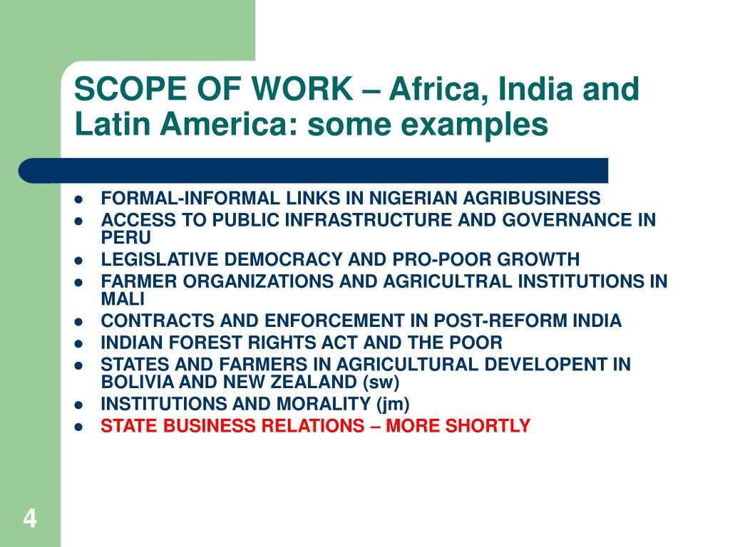 SCOPE OF WORK – Africa, India and Latin America: some examples