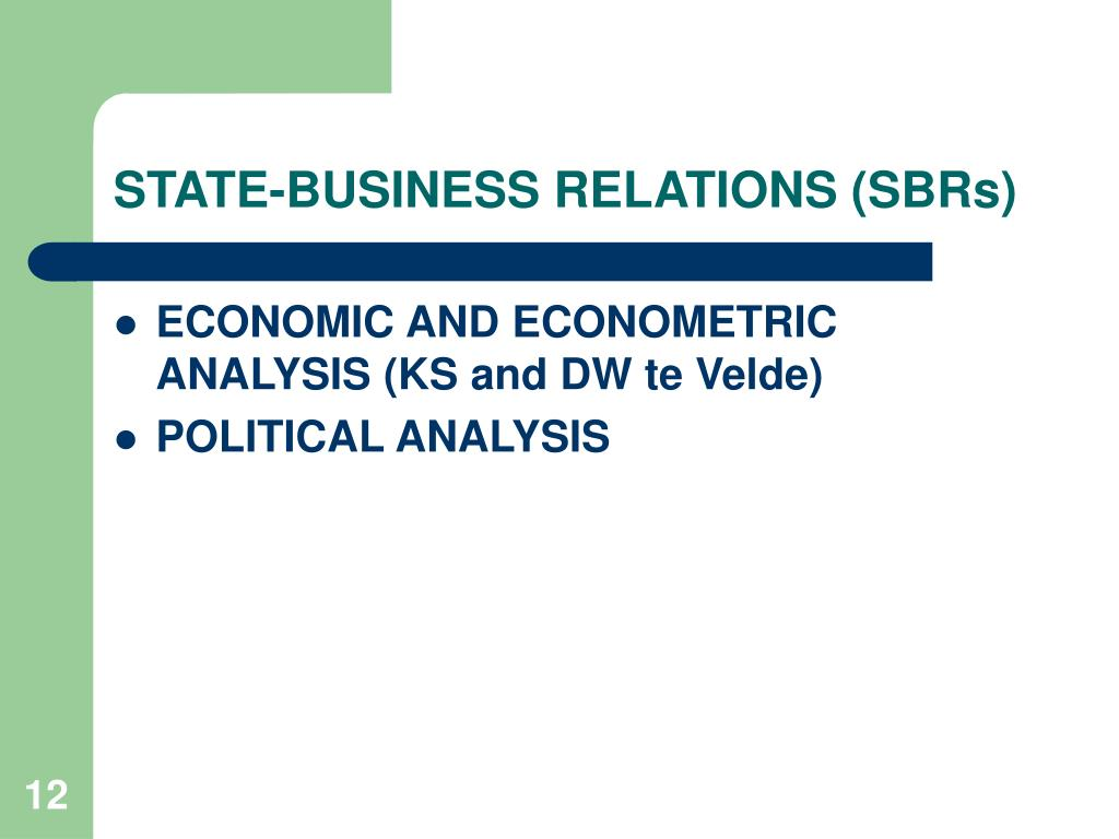 STATE-BUSINESS RELATIONS (SBRs)