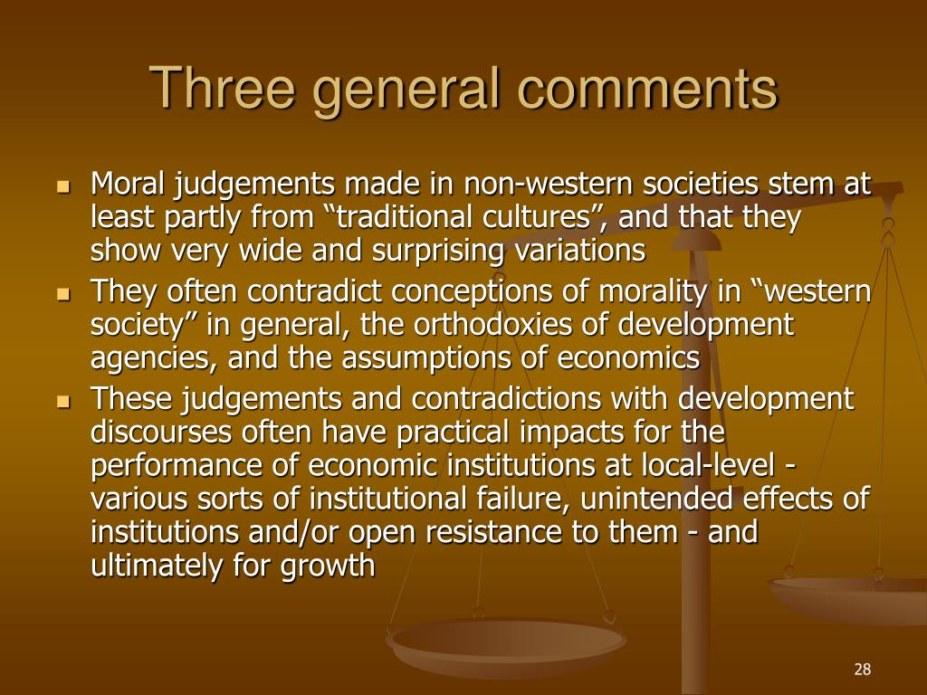 Three general comments