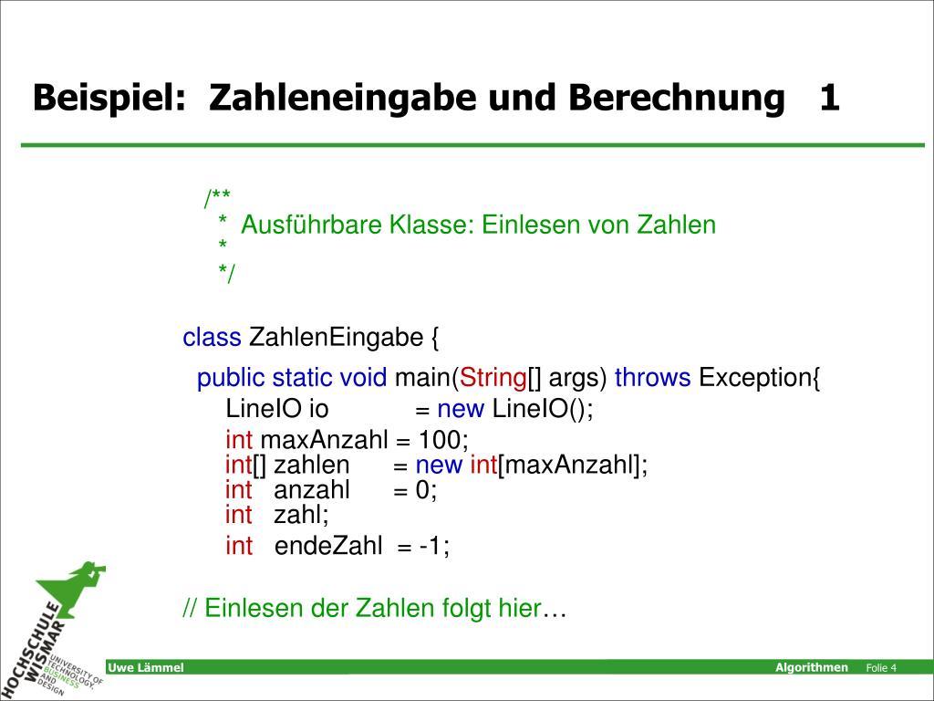 Beispiel:  Zahleneingabe und Berechnung   1