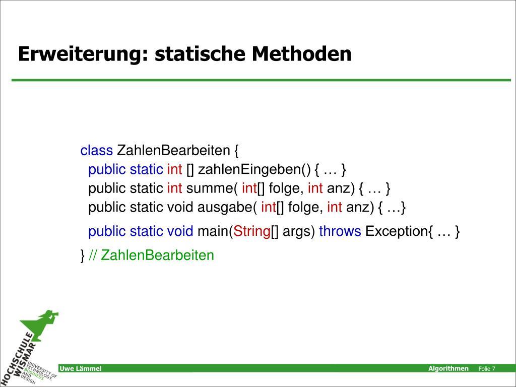 Erweiterung: statische Methoden
