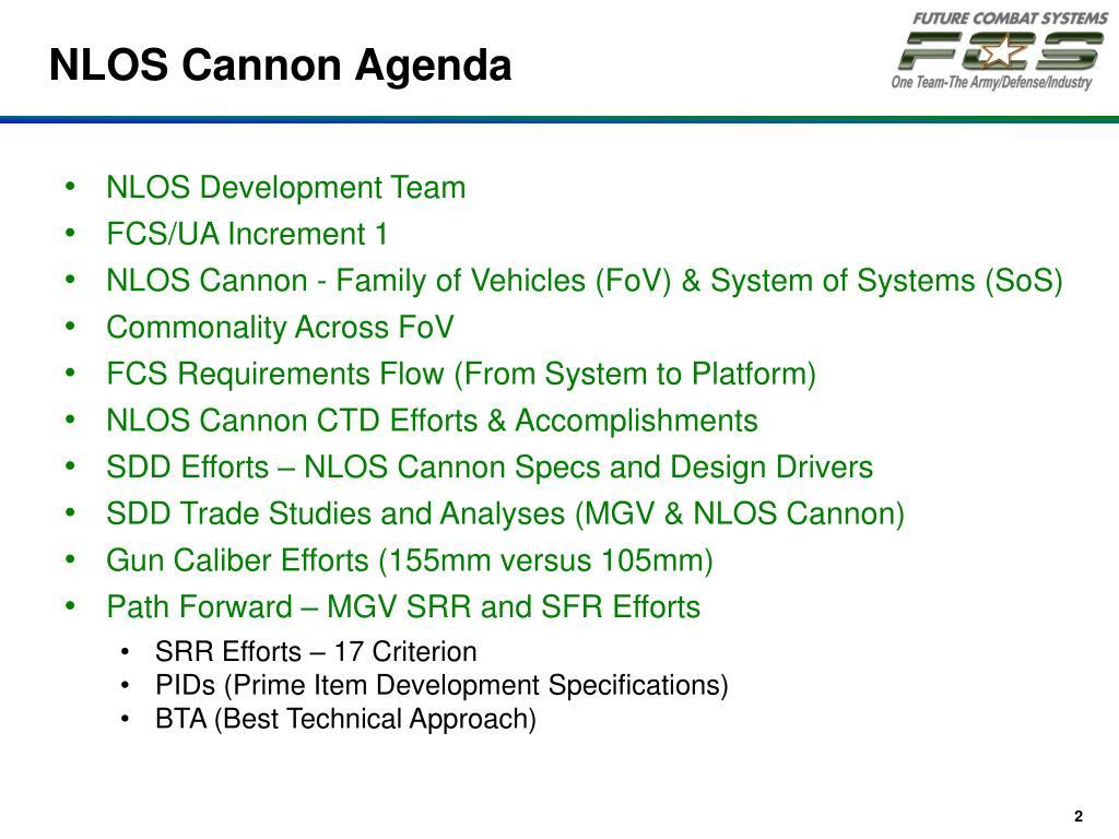 NLOS Cannon Agenda