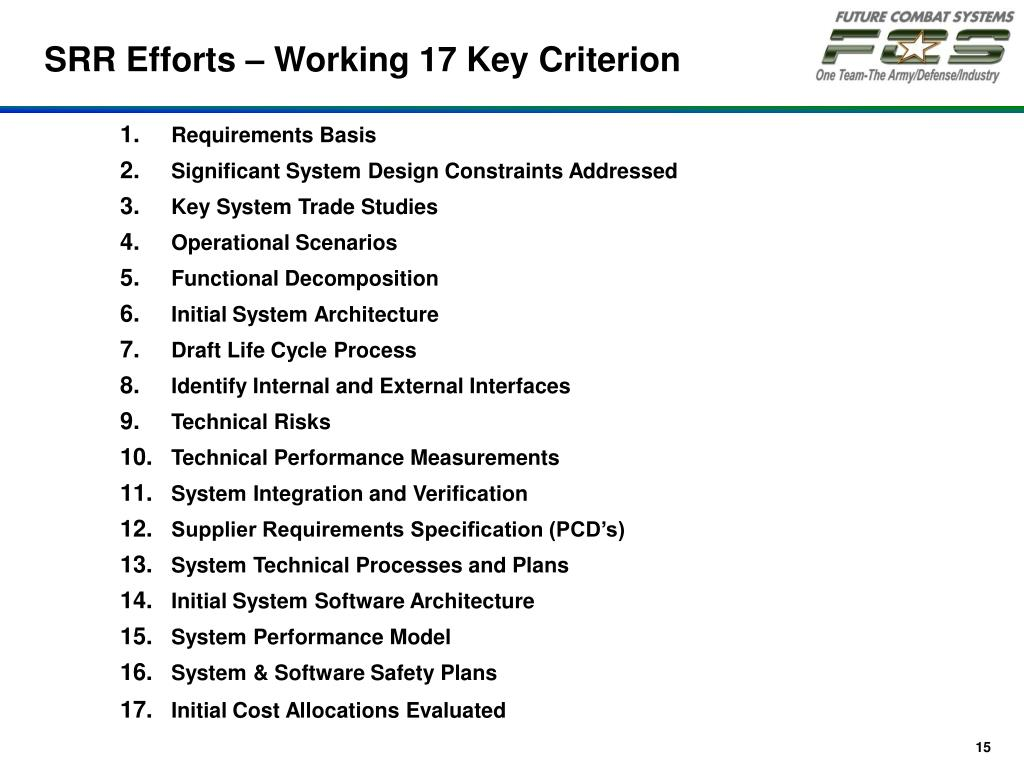 SRR Efforts – Working 17 Key Criterion