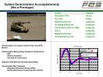 system demonstrator accomplishments not a prototype