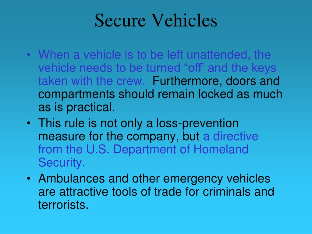 Secure Vehicles