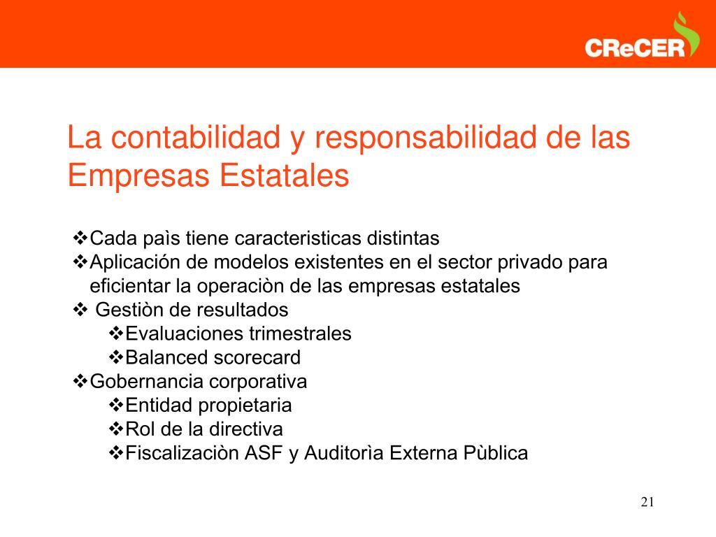La contabilidad y responsabilidad de las Empresas Estatales