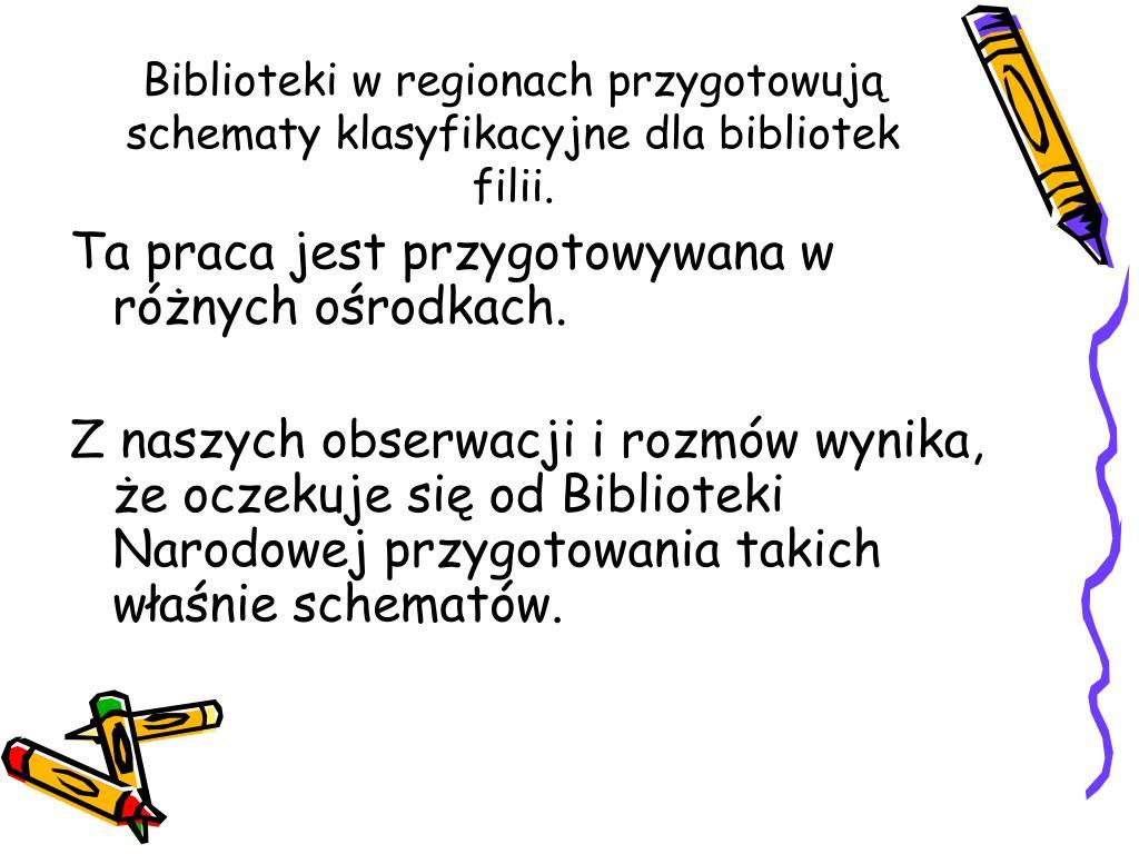 Biblioteki w regionach przygotowują schematy klasyfikacyjne dla bibliotek filii.