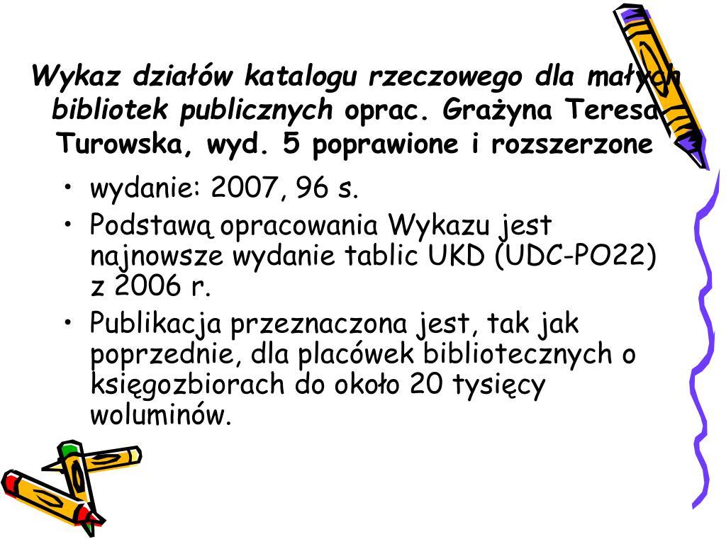 Wykaz działów katalogu rzeczowego dla małych bibliotek publicznych
