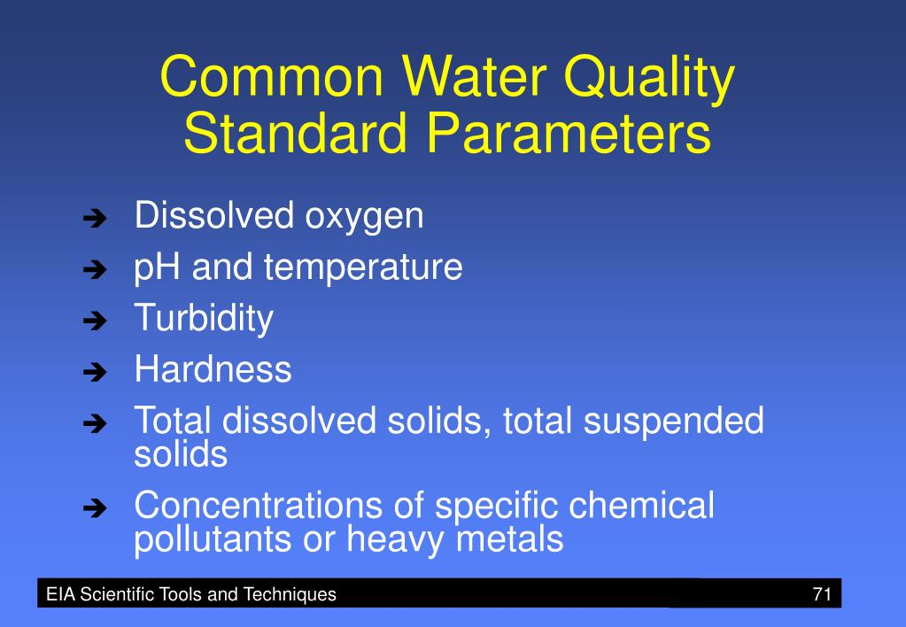 Common Water Quality Standard Parameters