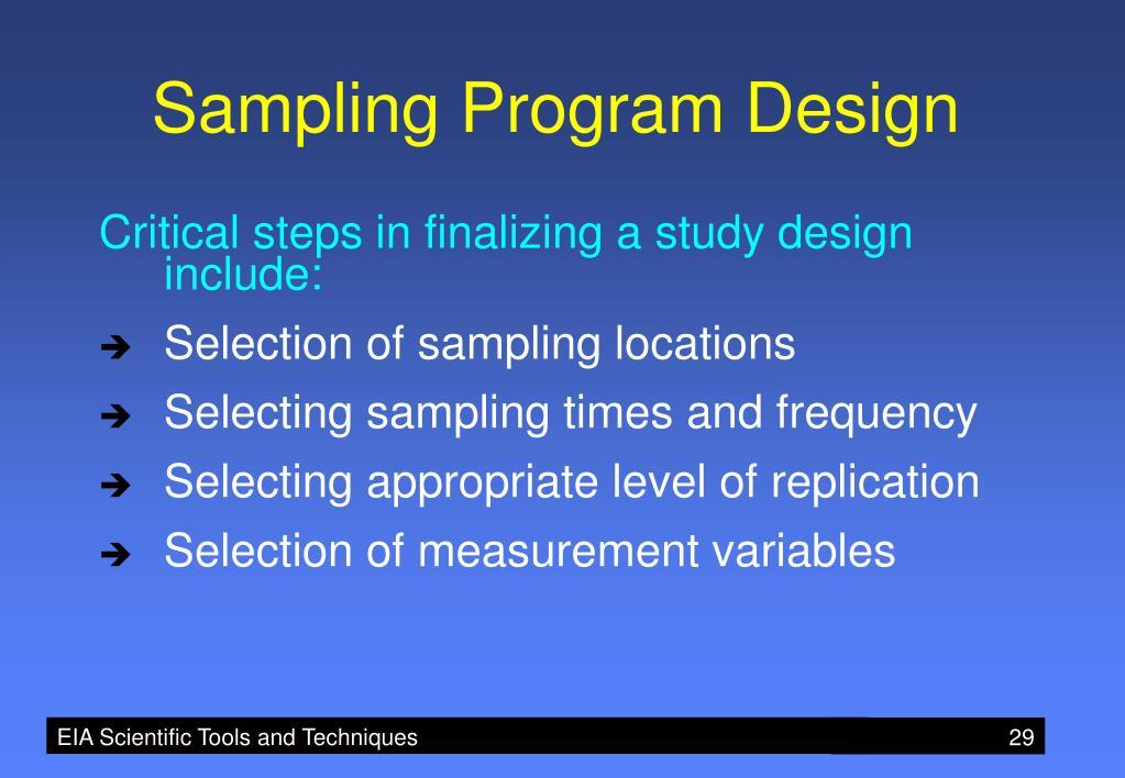 Sampling Program Design