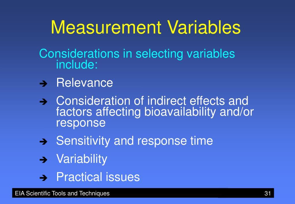 Measurement Variables