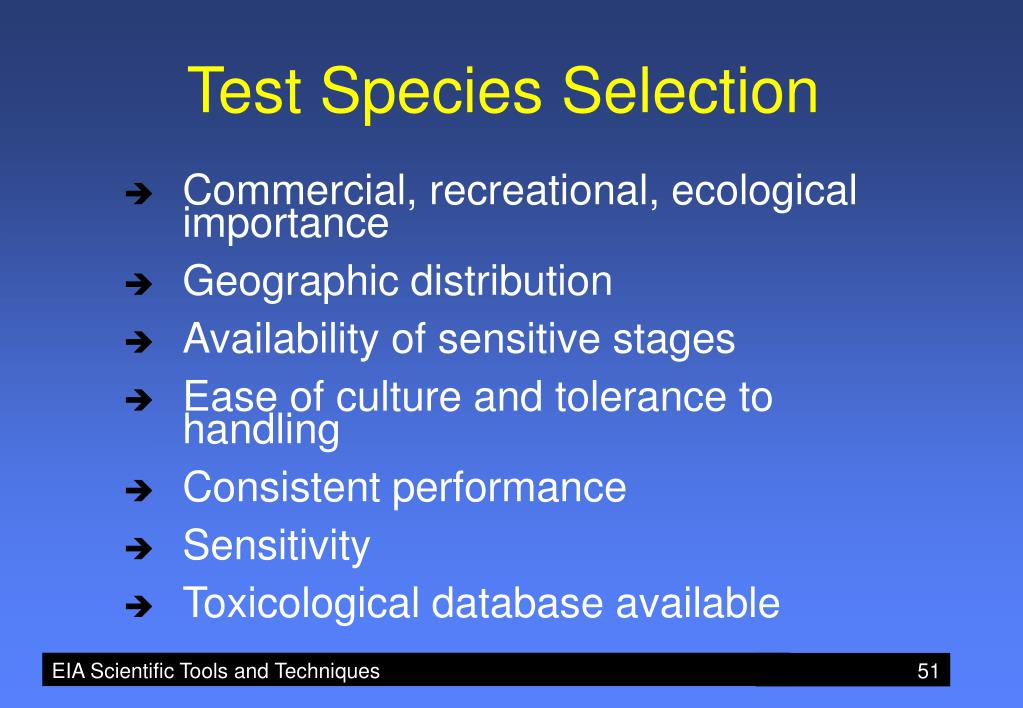 Test Species Selection