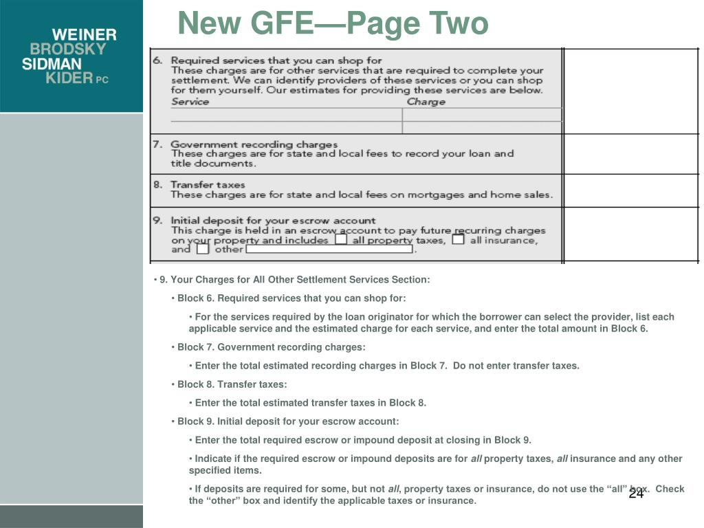 New GFE—Page Two